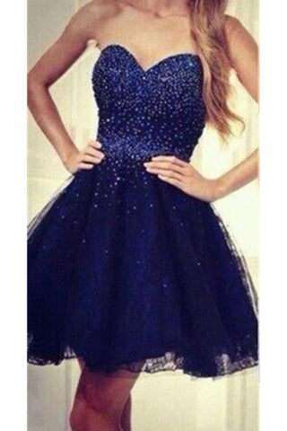 Royal Blue Sweetheart Beading Handmade Lace A-line Homecoming Dresses K405