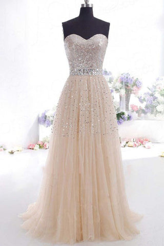 Strapless Long Tulle Beaded Charming Prom Dresses K43