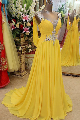2016 Pretty V-neck Long Chiffon Backless Beaded Prom Dresses K44