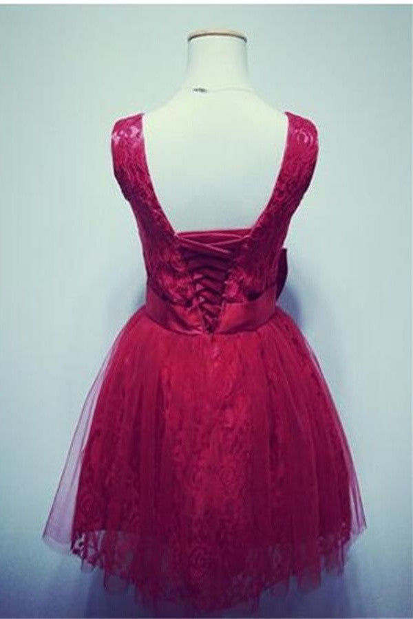 Red V-neck Lace Short Lace Up Open Back Homecoming Dresses K159
