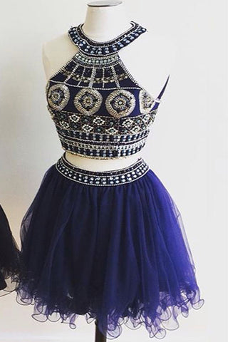 Cute Two Pieces Halter Royal Blue Tulle Beading Homecoming Dresses K46