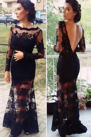 Real Sexy Black Long Sleeves Lace Backless See Through Prom Dresses K47