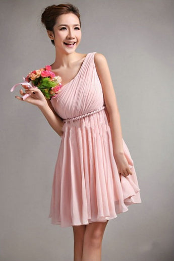 Simple One Shoulder Short Chiffon Cheap Bridesmaid Homecoming Dresses K49