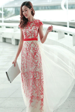 Real Pretty Long Elegant High Low Short Sleeves Simple Prom Dresses K53
