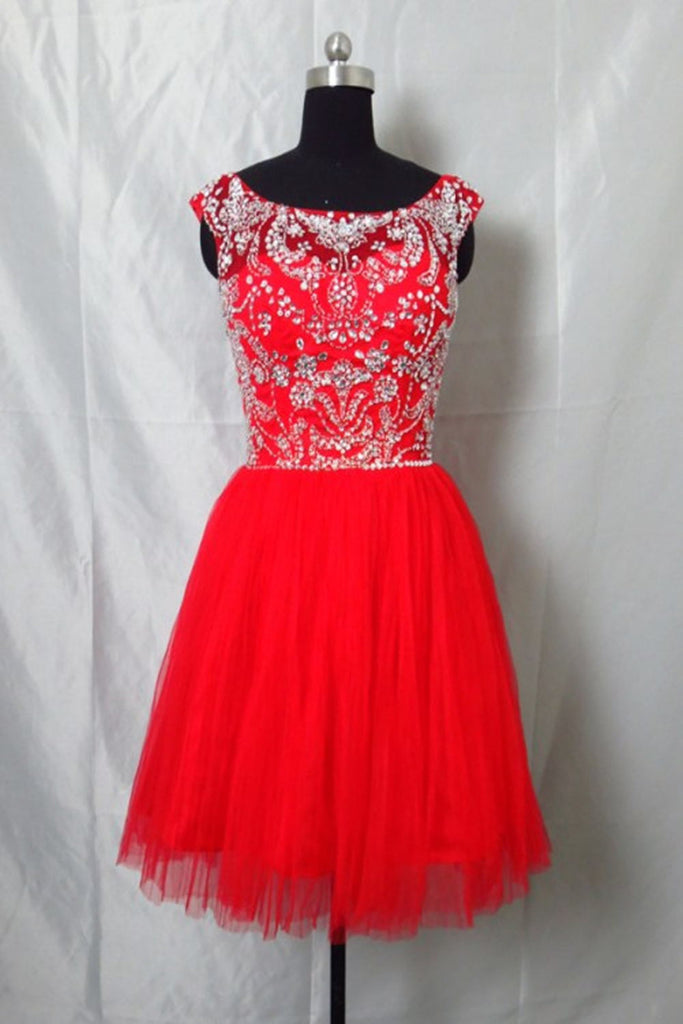 Real Cute Cap Sleeves Beading Short Backless Homecoming Dresses K56