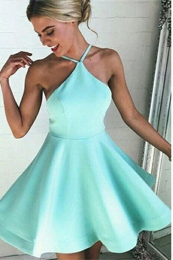 Simple Mint Backless Short Satin Homecoming Dresses With Straps K575