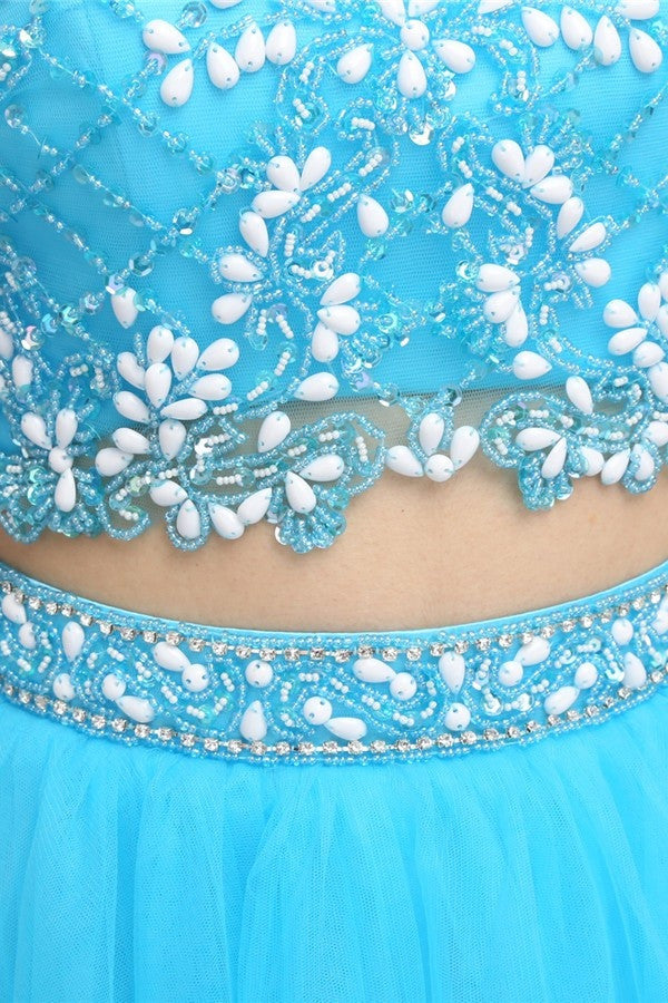 Light Blue Beaded Open Back Short Tulle Homecoming Dresses K577