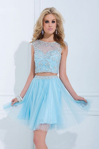 Pretty Two Pieces Light Sky Blue Cap Sleeves Short Homecoming Dresses K58
