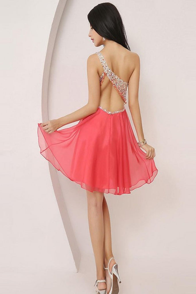 One Shoulder Beading Pretty Short Backless Homecoming Dresses K60