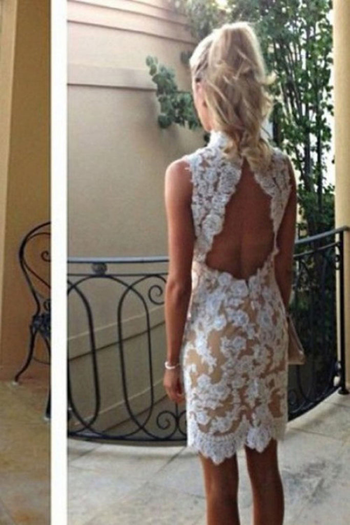 Free Shipping Short Lace Sheath Open Back Simple Pretty Homecoming Dresses K61