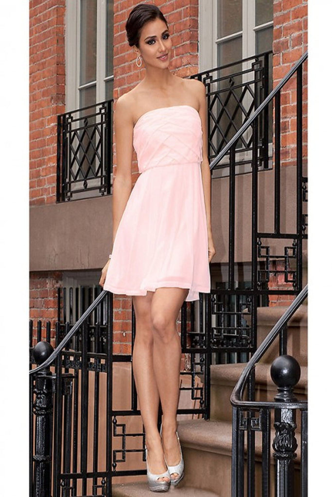Pretty Pink Simple Cheap Chiffon Strapless Homecoming Dresses K63