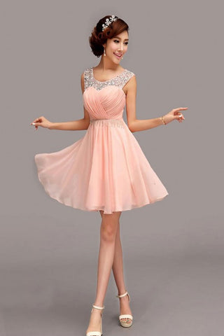 Custom Made Pink Chiffon Short High Low Homecoming Dresses K65