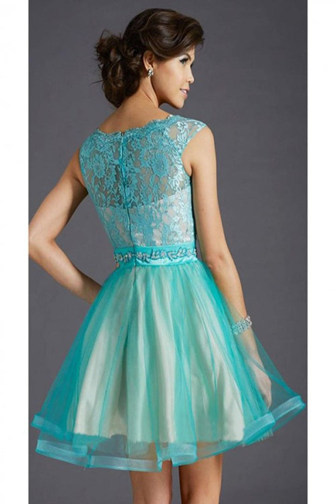 Teal Lace Cap Sleeves Short Beaded Homecoming Dresses K66
