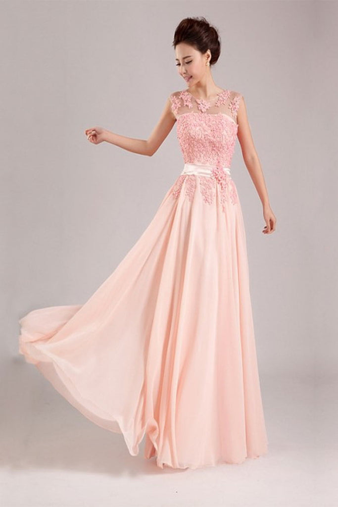 Real Beauty Long Lace Blush Pink Back Up Lace Prom Dresses K68