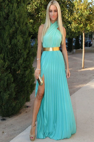 Chiffon Halter Front Split Simple Cheap Long Prom Dresses K70