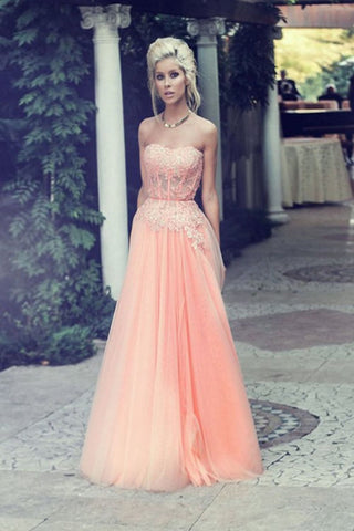 Pretty Pink Long Sweetheart Lace Beading Open Back Prom Dresses