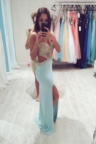 Real Sexy Long Front Split Light Sky Blue Open Back Prom Dresses K74