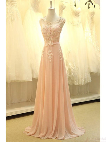 Modest Blush Pink Pretty Long Lace Cap Sleeves Prom Dresses K75