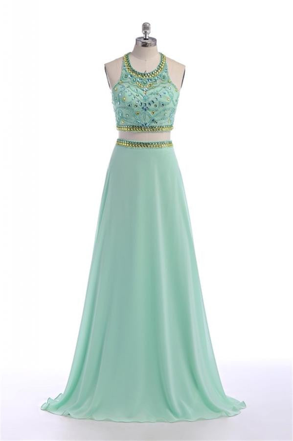 Pretty Mint Green Long Chiffon Beading Backless Prom Dresses With Spaghetti K77