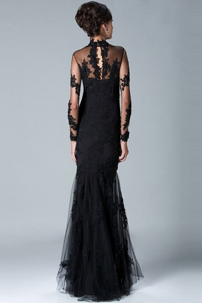 Charming Long Sleeves High Neck Black Lace Mermaid Prom Dresses K78