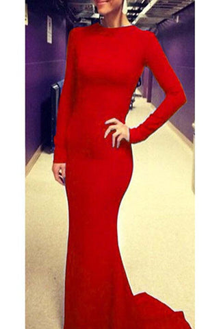 Light Red Simple Open Back Long Sleeves Cheap Prom Dresses K79