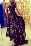 Modest Black Lace Long High Low Charming Prom Dresses K80