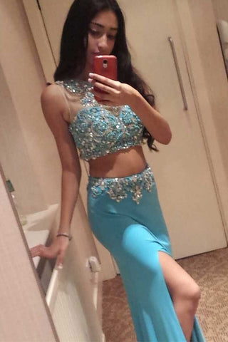 Ice Blue 2 Pieces Long Front Split Charming Prom Dresses K82