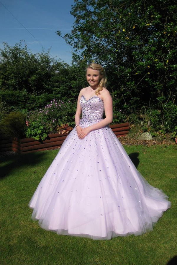 Lavender Long Ball Gown Sweetheart Back Up Lace Prom Dresses K88