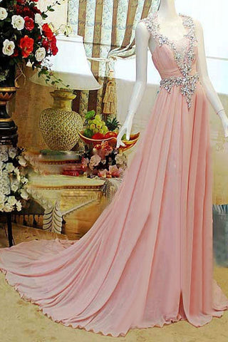Pretty Pink High Low Backless Beading Long Chiffon Prom Dresses K89