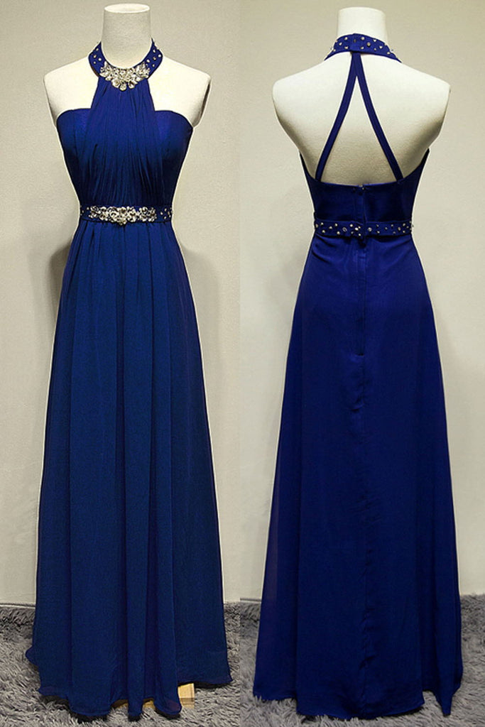 Royal Blue Halter Beading Backless Pretty Long Prom Dresses K90