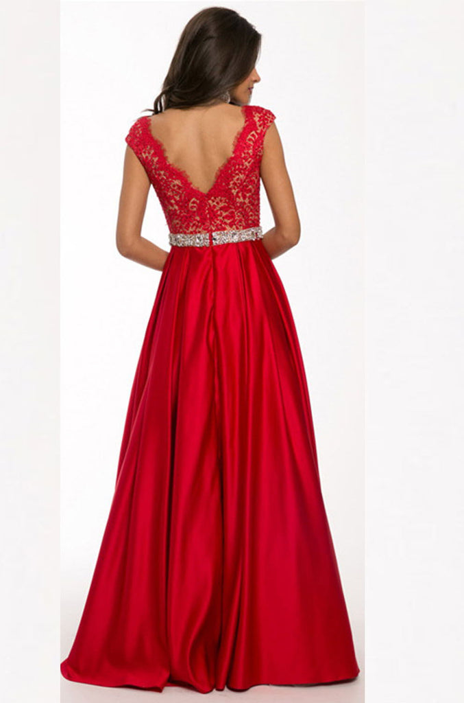 Sexy V-neck Long Satin Lace Red Simple Open Back Prom Dresses K94