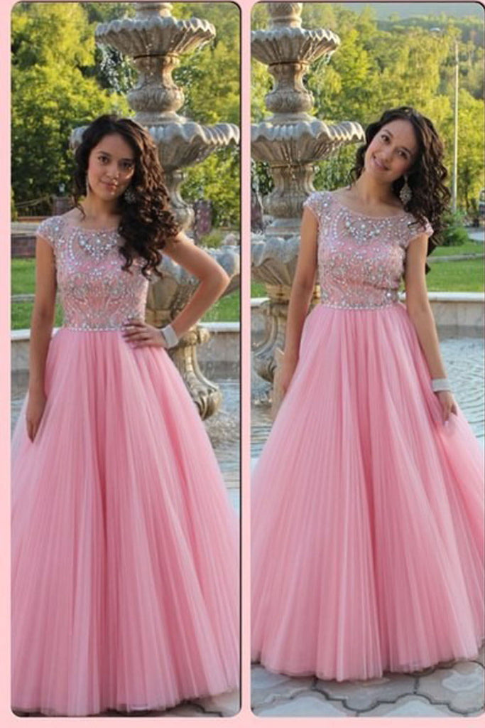 Cute Pink Ball Gown Long Cap Sleeves Beading Tulle Prom Dresses K95