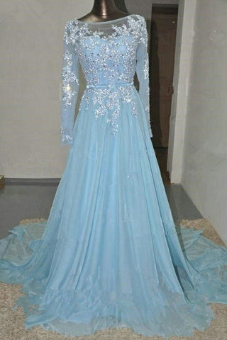Baby Blue Long Sleeves Lace Beading Chiffon Prom Dresses K97