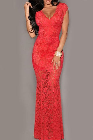 Real Sexy Long Lace Mermaid Sheath V-neck Open Back Prom Dresses K99