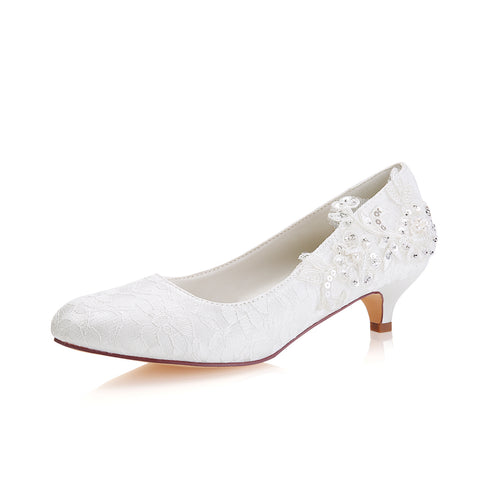 Fashion Ivory Low Heels Rhinestone Wedding Shoes with Lace Appliques L-923