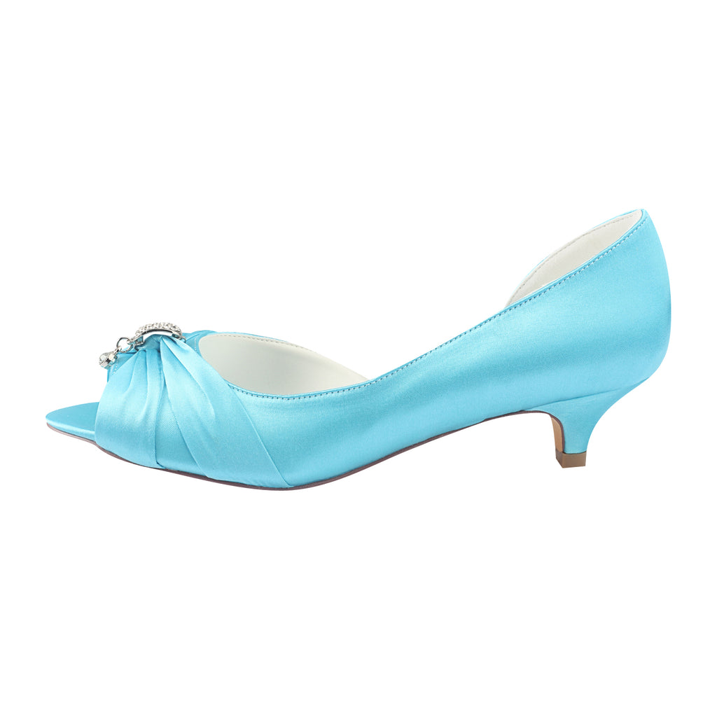 Light Blue Wedding Shoes with Rhinestones, Beautiful Party Shoes L-924