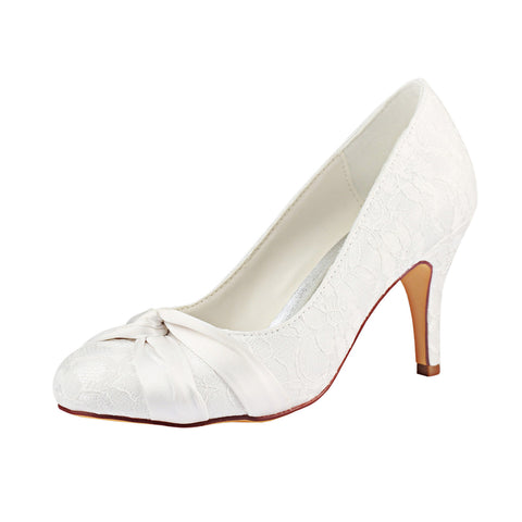 Ivory High Heels Bridal Shoes,Elegant Wedding Shoes, Lace Woman Shoes L-926