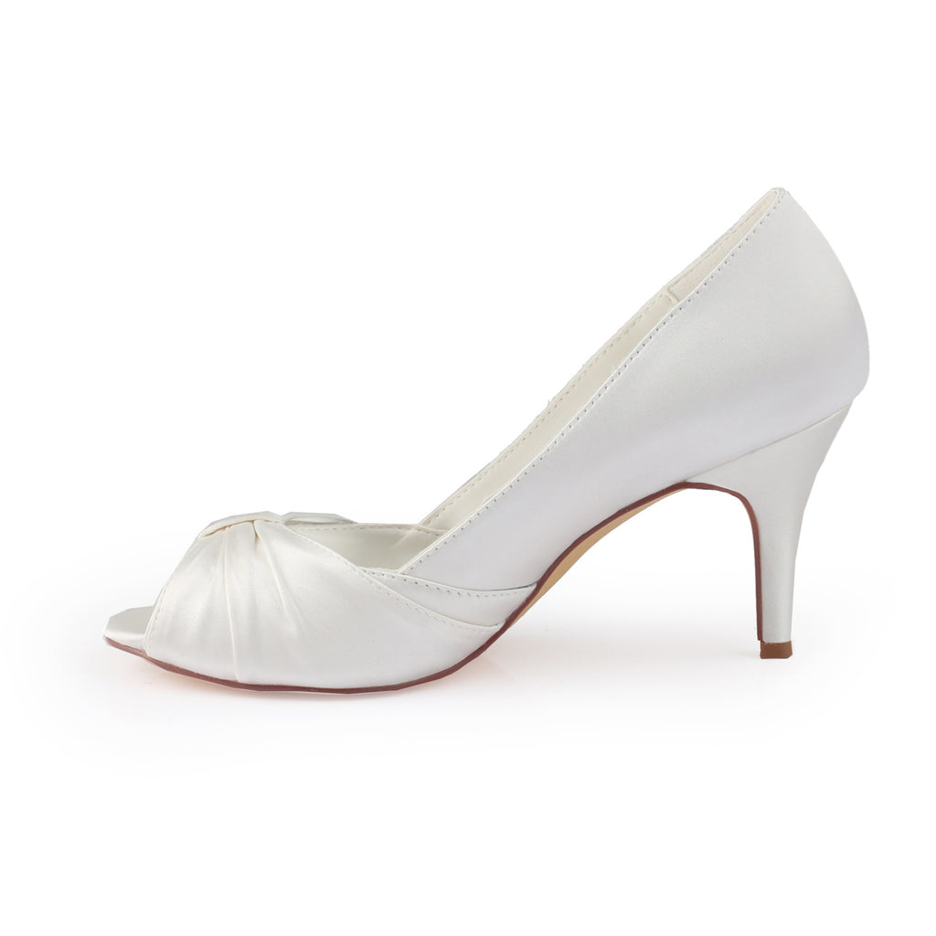 Ivory High Heels Satin Wedding Shoes, Princess Wedding Party Shoes L-928