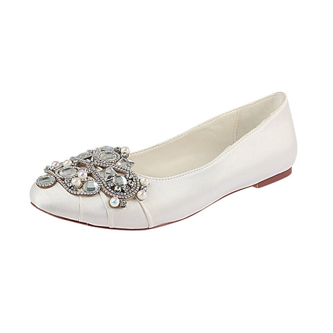Ivory Flat Beading Wedding Shoes, Satin Wedding Party Shoes For Women L-930