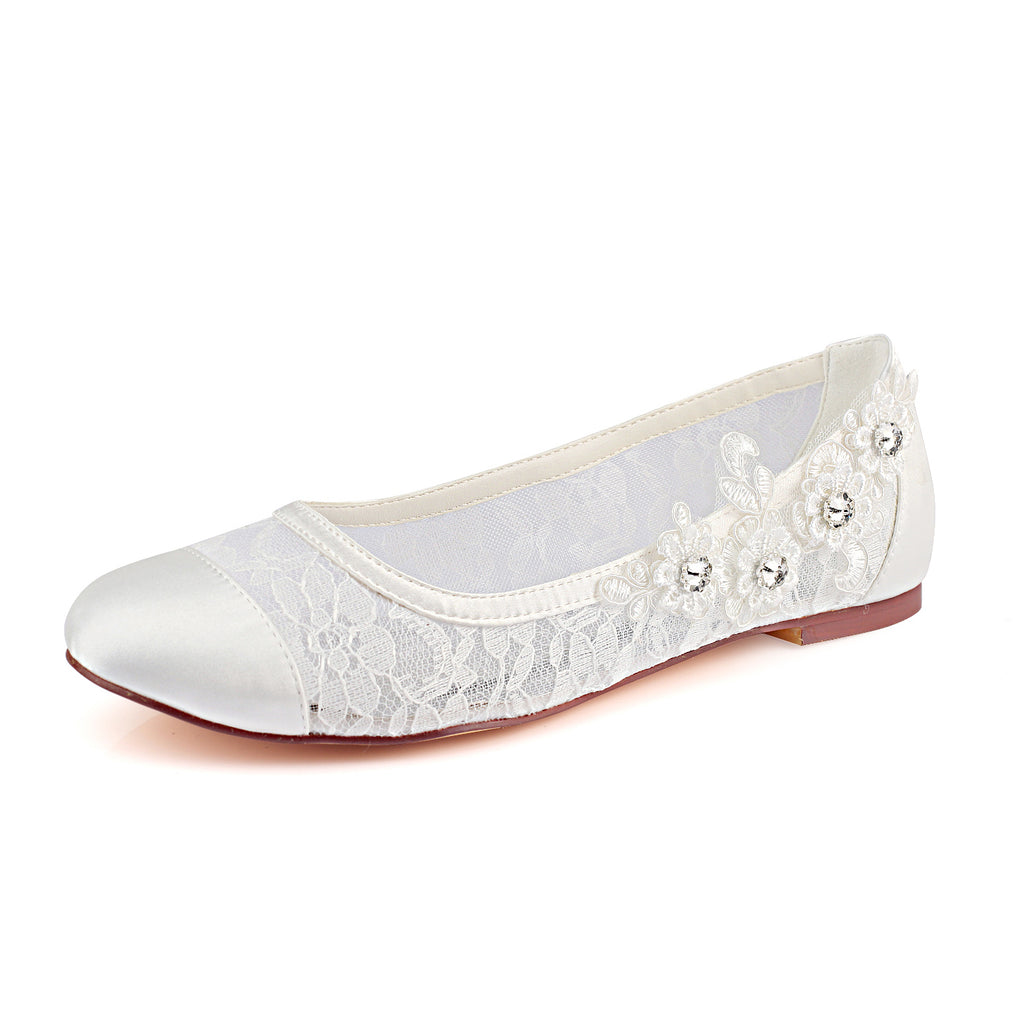 Ivory Flat Lace Wedding Shoes with Crystal, Fashion Woman Party Shoes L-931