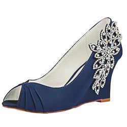 Dark Blue Wedge Wedding Shoes with Rhinestone,Elegant Wedding Party Shoes, L-933