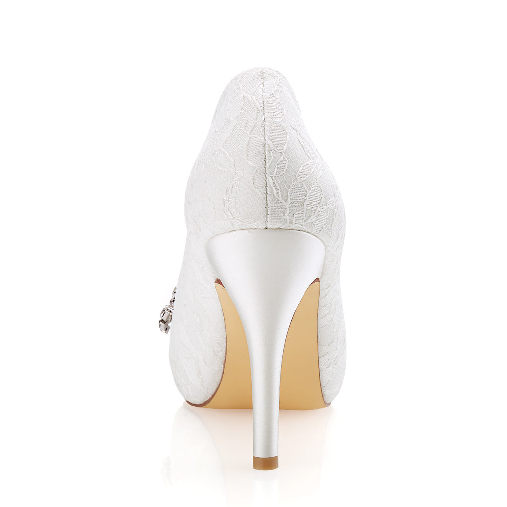 Ivory High Heels Lace Wedding Shoes with Rhinestone, Fashion Wedding Party Shoes L-935