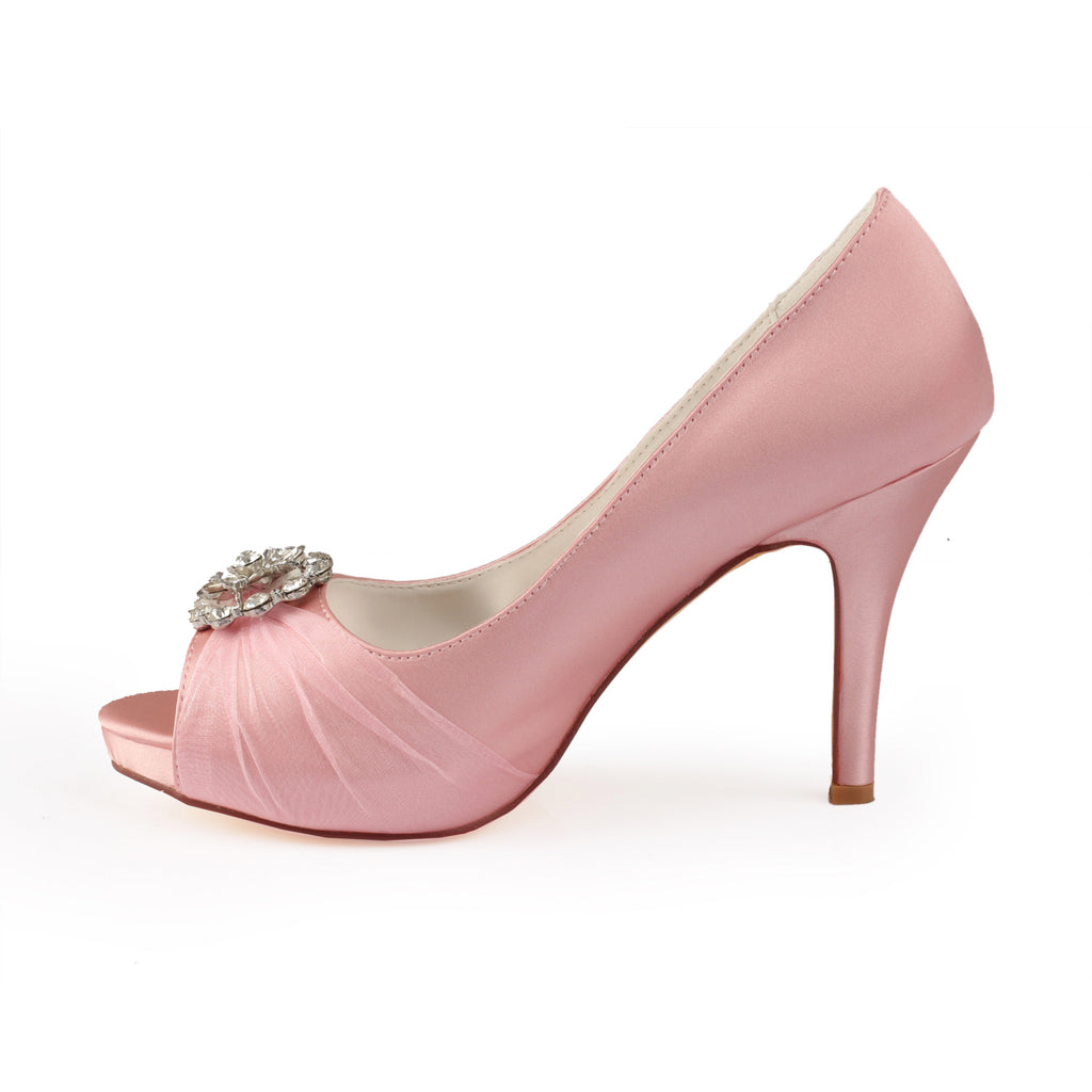 Pink High Heels Wedding Shoes with Rhinestone, Cheap Peep Toe Wedding Woman Shoes L-936