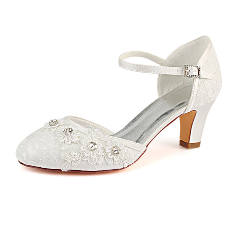 Ivory Ankle Straps Wedding Shoes with Rhinestone, Lace Wedding Party Shoes L-938