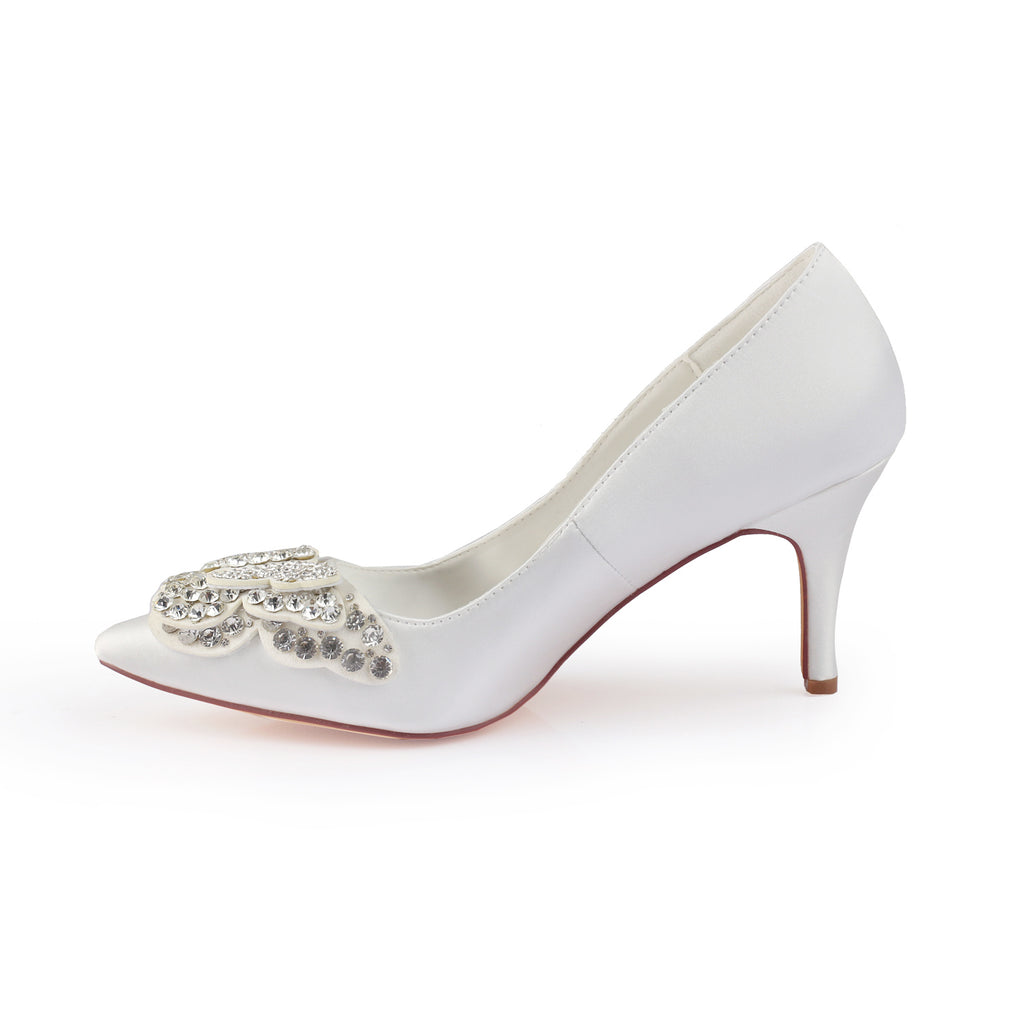 Ivory High Heels Wedding Shoes with Rhinestone, Cheap Satin Wedding Party Shoes L-940