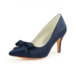 Dark Blue High Heels Wedding Shoes with Bowknot, Fashion Satin Formal Party Shoes L-942