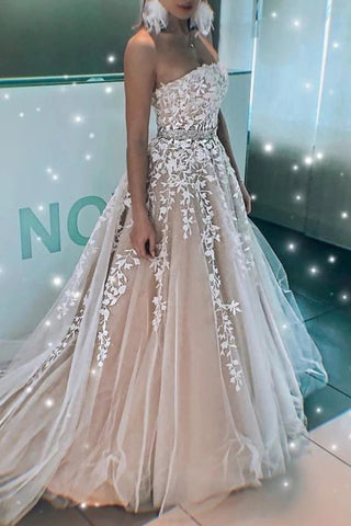 Fashion A Line Strapless Lace Appliques Beaded Formal Prom Dresses Evening Grad Dress OKU57