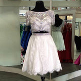 Stylish Two Piece A-Line Prom Dress,Bateau Short Sleeves Lace Homecoming Dress With Beading OK471