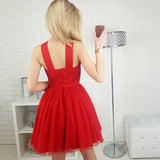 Cute A-Line Straps Red Homecoming Dresses,Sleeveless Short Prom Dress With Sequins OK472