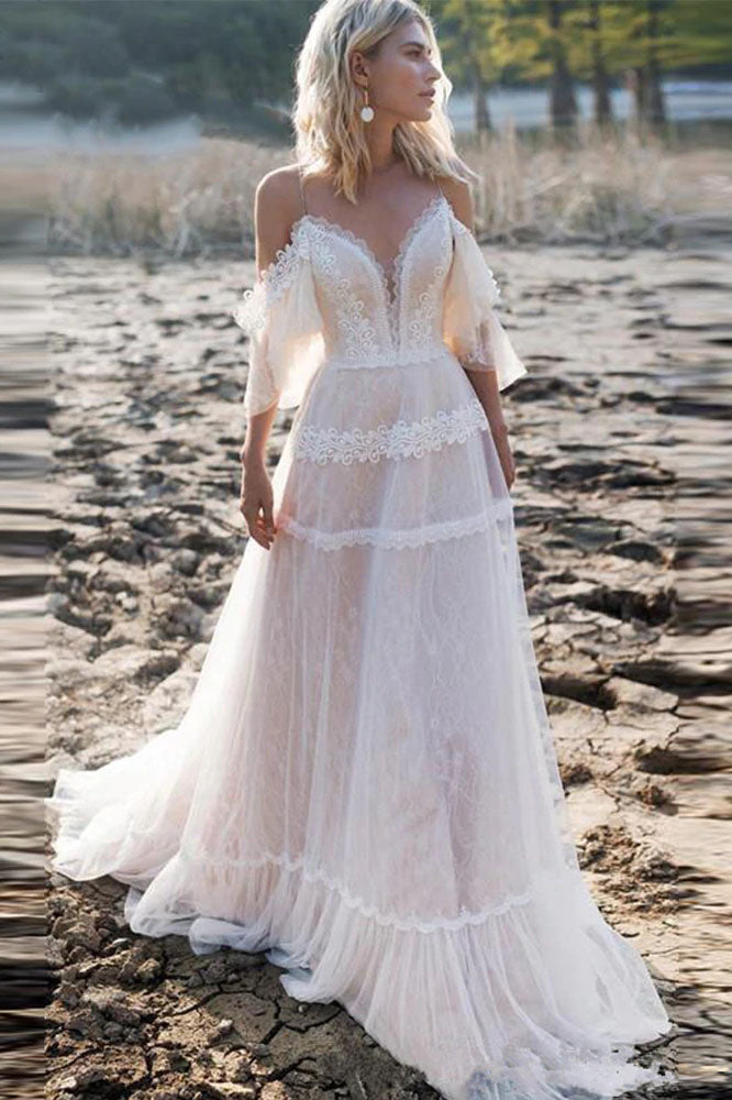 Off Shoulder A Line Lace Appliqued Boho Wedding Gowns Beach Bridal Gowns OKV66